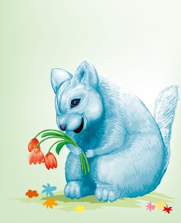dear blue mouse with red flowers Vector