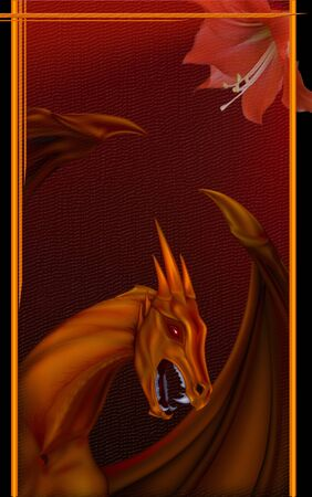 fantasy dragon: portrait of a flying dragon on a dark background with a flower dragon Stock Photo