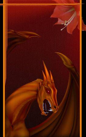 portrait of a flying dragon on a dark background with a flower dragon Reklamní fotografie