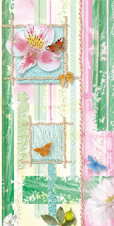 striped background with flowers and butterflies in green and yellow colors photo
