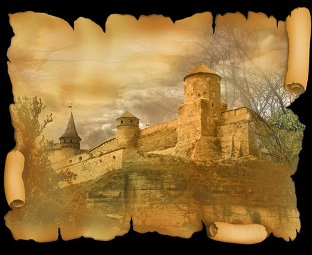 ruins is ancient: medieval fortress on the old scroll  worn paper