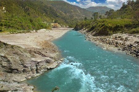 river in a mountain gorge, Uttarakhand, India.  Stockfoto