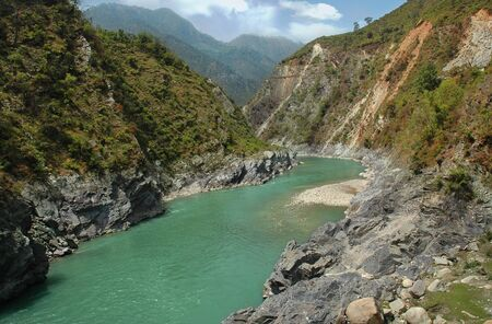 river in a mountain gorge, Uttarakhand, India.  Stock Photo