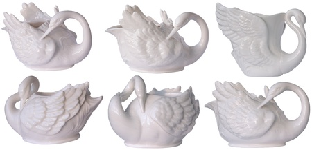 beautiful porcelain dishes in the form of a swan Stock Photo
