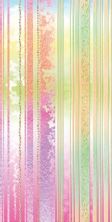 striped background in green and yellow-orange-magenta tones with golden nets Stock Photo
