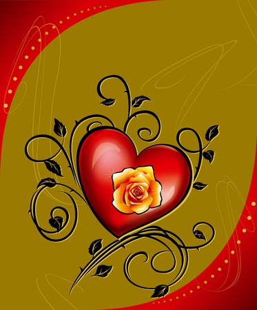 hjärtan och rosor dekorerade med blommotiv på en bronsbakgrund