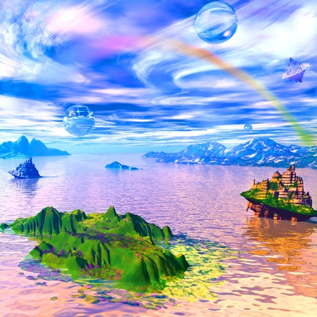 alien landscape: landscape with fantastic islands and areas in the clouds Stock Photo