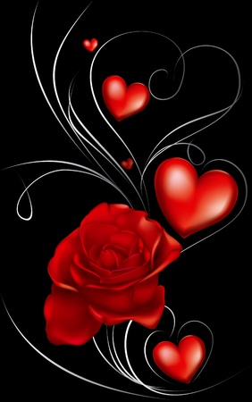 red rose and heart decorated with thin lines on a black background Vector