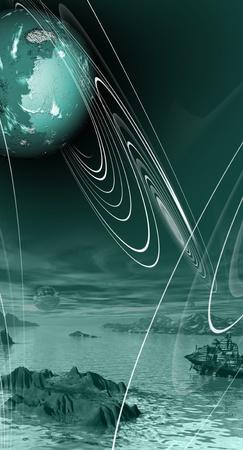 unreal unknown: mondo mistico di pianeti sconosciuti e orbite sopra l'oceano