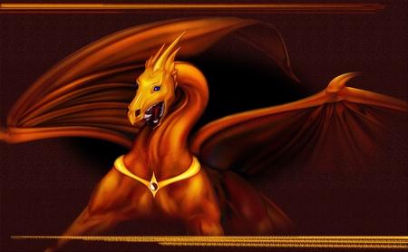 黒い背景にトライコーン ゴールドドラゴン 写真素材