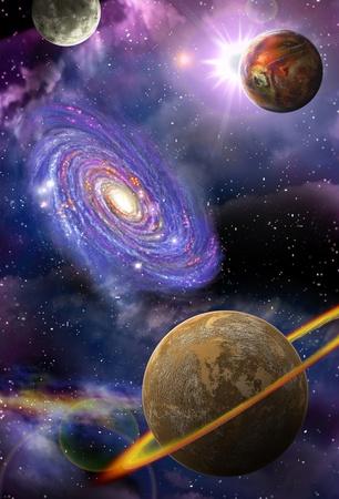 avlägsna galaxer och planeter som flyger i rymden