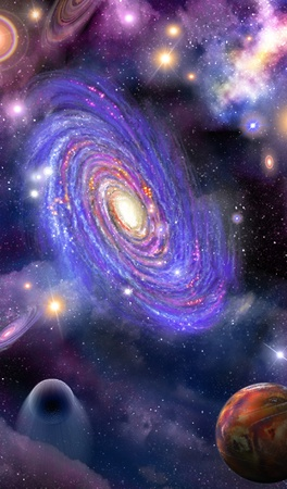 spiral galaxy of stars, planets and space nebulas Stock Photo