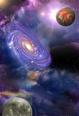 スペースと渦巻銀河と 2 つの惑星が星雲の中で 写真素材