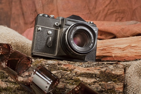 fotocamera, production of the Soviet Union early eighties, on the background of wood