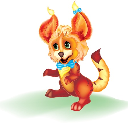nice smile: cute and funny baby cartoon animal with big ears and a bow
