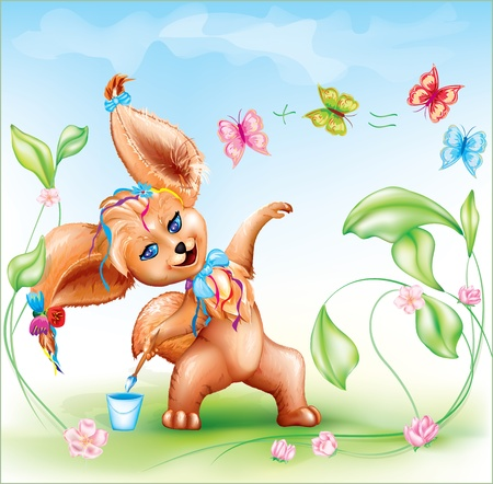 cute and funny baby cartoon animal with big ears, paints and count butterflies