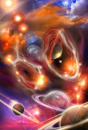 colored yellow and red nebulae and planets in the futuristic space photo