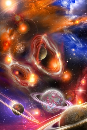 yellowish red nebulae and planets in the futuristic space