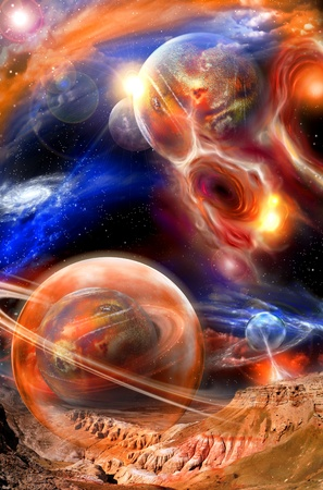 unreal cosmic landscape: colorful nebulae, planets and spheres photo