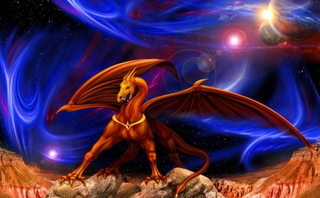 fantasy red gold dragon against a background of cosmic landscapes