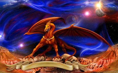 fantasy red gold dragon against a background of cosmic landscapes over the parchments Stock Photo