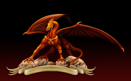 fantasy red gold dragon against a black background over the parchment photo