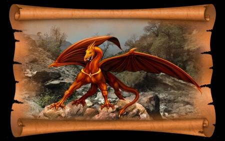 古い羊皮紙スクロールの背景に赤と黄色の龍