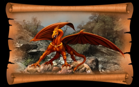 Red and yellow dragon on a background of old parchment scroll Stock Photo - 12582967