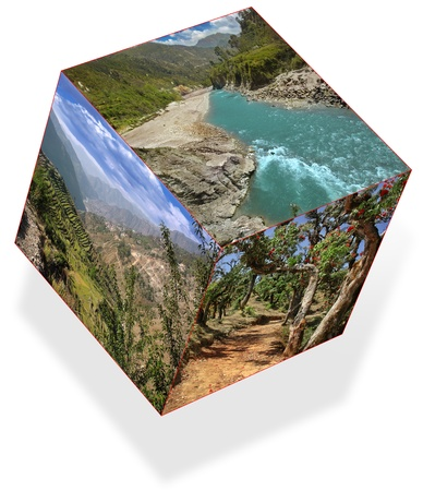 landscapes located in three planes of a cube, isolated