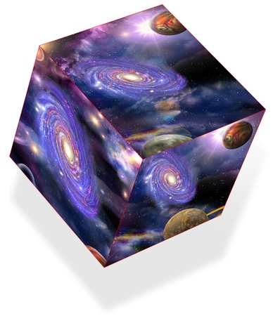 Galaxy planets and nebulae are located in three planes of a cube, isolated
