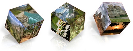 landscapes, nature and landmarks located in the planes of cubes photo