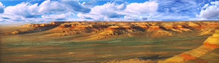 tethys: beautiful panorama of unusual slopes plateau Ustyurt (Shagyray) in Kazakhstan Stock Photo