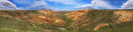 tethys: panorama of the canyon on the slopes of Ustyurt. The northeastern part of the plateau in Kazakhstan Stock Photo