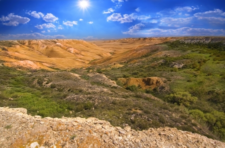 tethys: View of the canyon on the slopes of Ustyurt. The north part of the plateau in Kazakhstan