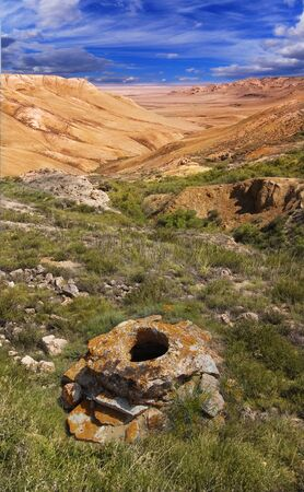 tethys: landscape canyon of the mountains in the Ustyurt; north eastern part of the plateau in Kazakhstan, Central Asia  Stock Photo
