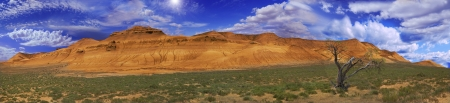 tethys: Beautiful picturesque panorama yellow-red slopes mountains. North-eastern part of the Ustyurt in Kazakhstan Stock Photo
