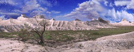 unusual beautiful scenery of white mountains Ustyurt plateau in Kazakhstan