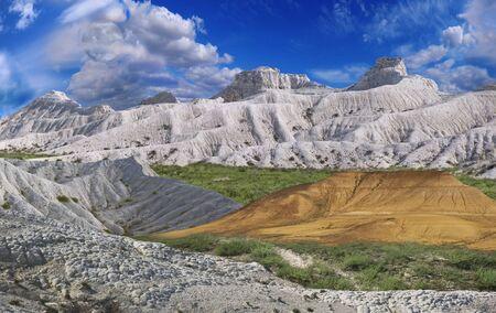 kazakhstan: extraordinary colorful landscape white-yellow mountains of Ustyurt