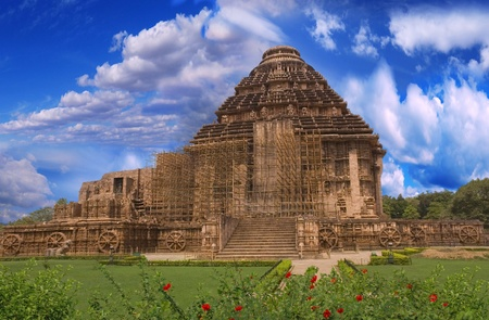 Sun Temple. General plan for the temple of the sun. Konark, India, the view from the side. photo