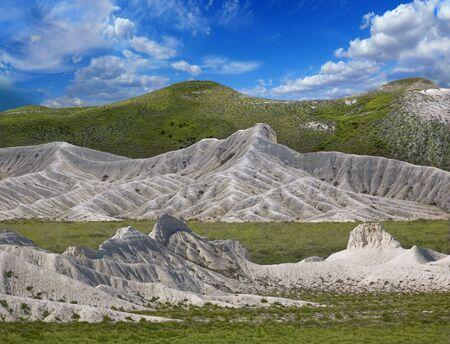 Landscape white ridges of the mountains Ustyurt. Northern Kazakhstan