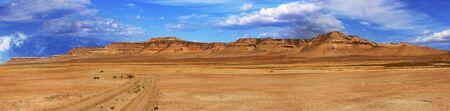 tethys: panorama of unusual deserted slopes plateau Ustyurt (Shagyray) in Kazakhstan
