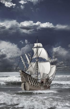 barco pirata: carabela de velas abiertas flotando sobre las olas del mar contra el cielo nublado