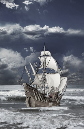 lanscape: caravel with open sails floating on the waves of the sea against cloudy sky
