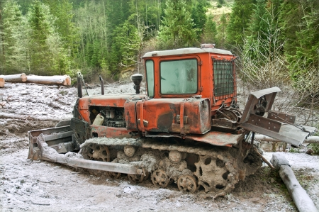 Russian-made crawler used in the forest during the felling photo