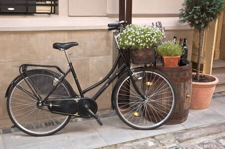 bicycle pedal: retro wega bike stands on the street near the wall Stock Photo