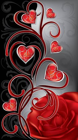 roses and hearts: patterned hearts and a red rose on a black gray background