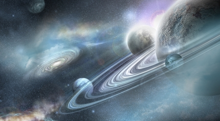 Planet in space with numerous prominent ring system and three moons orbit the planet