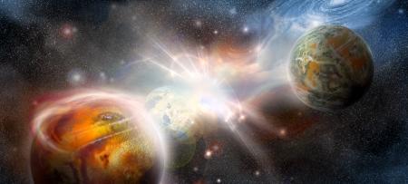 フラッシュ星の背景に宇宙の遠い世界で他の惑星の世界