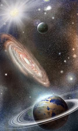distant planets against the background of the galaxy in outer space Stock Photo