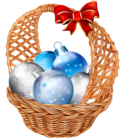 gift basket: holiday basket with christmas decorations balls  Vector illustration